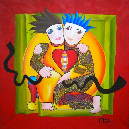 ❝ My Love ❞ Huile su toile 100 x 100 cm