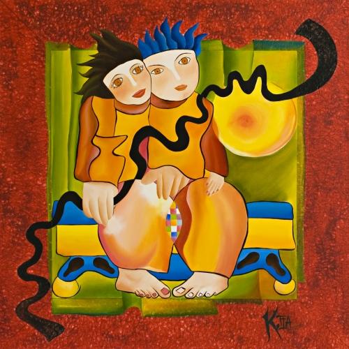 ❝ Amor Amor ❞ Huile sur toile 100 x 100 cm