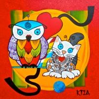 ❝ Chat c'est Chouette ! ❞ Huile sur toile 80 x 80 cm
