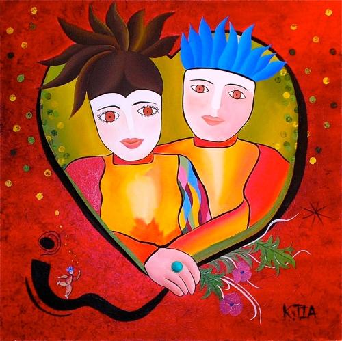 ❝ Portrait d'Amour ❞ Huile sur toile 60 x 60 cm